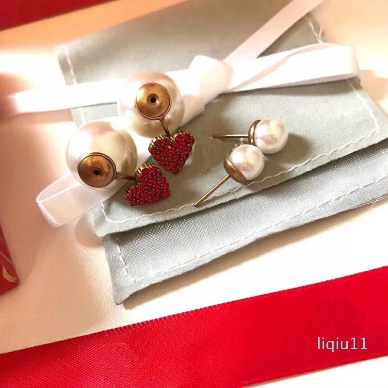 Горячая Продажа C1493 инновационного дизайн компактные красные сердец образных серег, изысканное кубический цирконий ухо шпильки прекрасного девушка размера жемчуг Eardrop