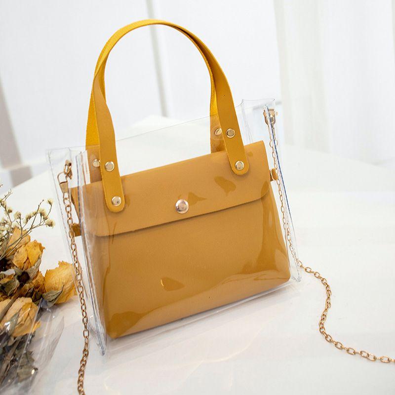Handtasche der Frauen transparente PVC-Handtasche Weibliche Mini Schultertasche Fashion Black Messenger Bag Umhängetaschen für Frauen