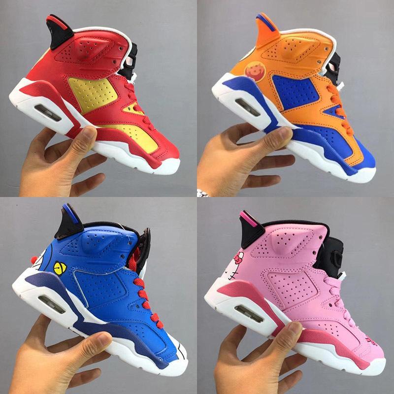 Hohe Qualität Neue Diskont Kinder 6 Baby Retro Basketball-Schuhe Unc Gold Schwarz Rot Kid 6s Jungen Turnschuhe Kinder Sport Low Größe 28-35