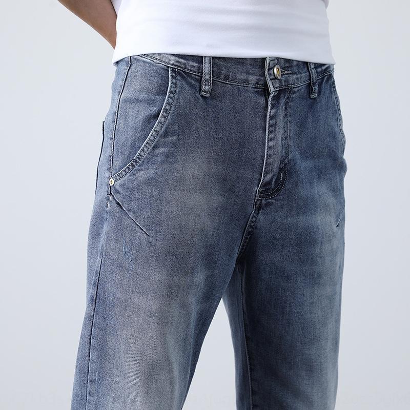 tubo SZBcv e Verão fina e calças de ganga para homens pequena reta estilo Primavera coreana Harlan dos homens cabide juventude moda solta denim calças mi