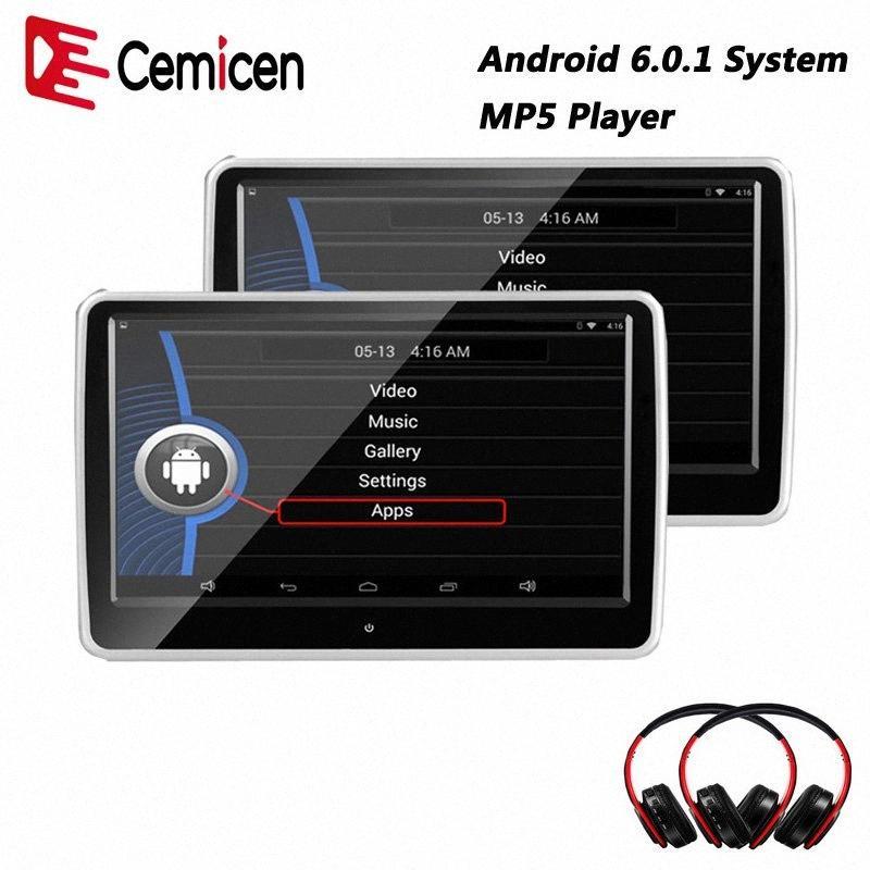 Cemicen 10.1 pollici del monitor poggiatesta auto Android 6.0.1 del sistema con WIFI IPS dello schermo di tocco MP5 Player con USB / SD / Bluetooth / altoparlante slsx #