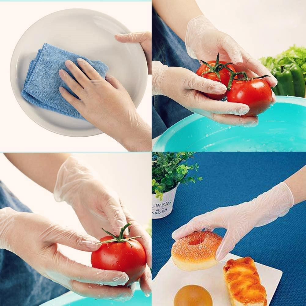 Guantes desechables fácil Una sola vez los guantes de plástico transparente Eco-amigables para el bricolaje Accesorios de cocina Cocina 100pcs / lot # 7NTr