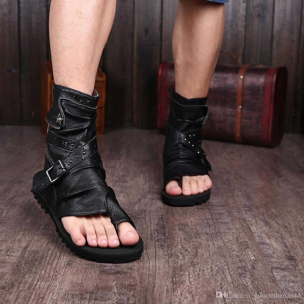 Gladyatör Sandalet İçin Erkekler Siyah Beyaz Bilek Deri Erkekler Flats İtalyan Sandalet Erkek Terlik 3Vcr # Ayakkabı