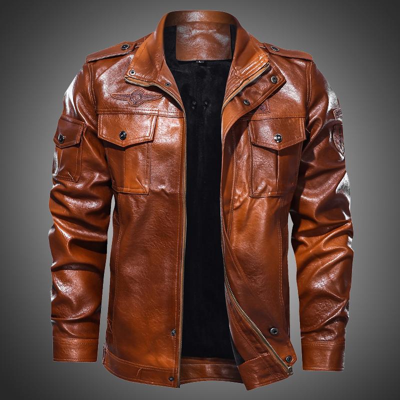 Mode für Männer Brown-Lederjacke Vintage Style Outwear Mantel-Mann-Herbst-Winter-Motorradjacke beiläufigen Overcoat Plus Size 4XL CX200820