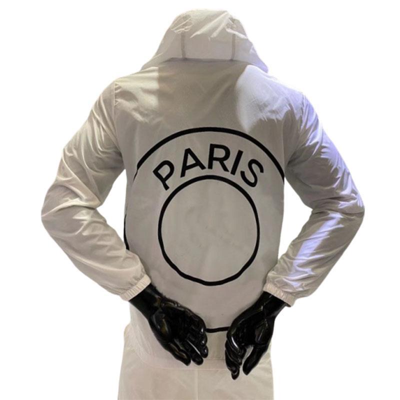 مصمم سترات للرجال الخريف الشتاء سترة واقية رياضية باريس لكرة القدم فريق جيرسي طباعة مقنع مع زيبر موضة الملابس S-2XL