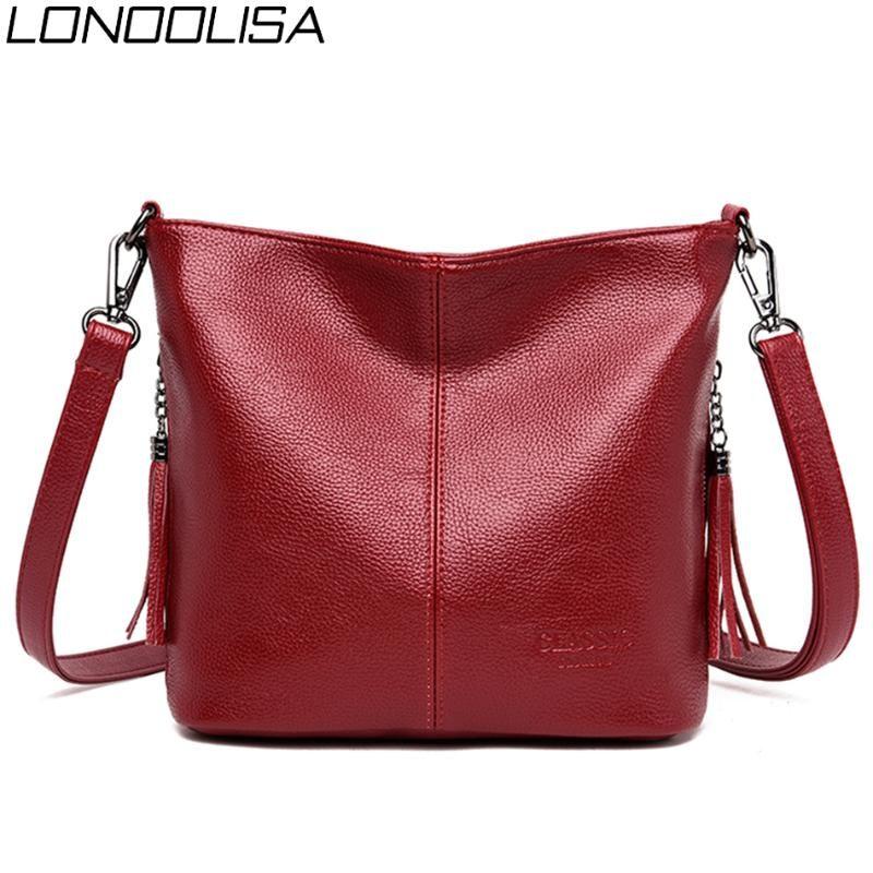 Las señoras de cuero suave de las borlas de los bolsos de mano del hombro de alta calidad Bolsas Cruzado para las mujeres 2020 bolsos de lujo diseñador de las mujeres