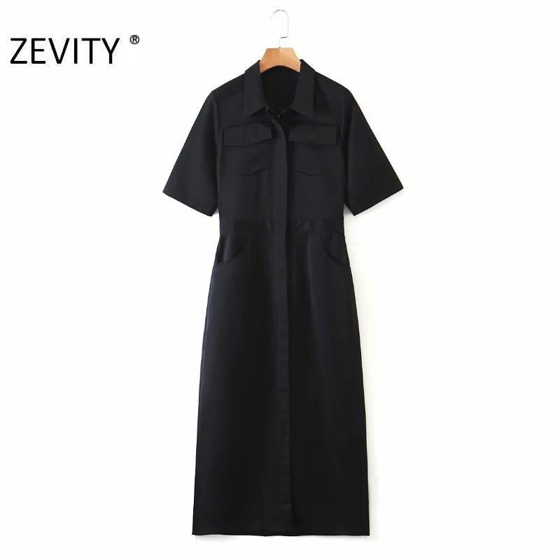 ZEVITY kadın moda kısa kollu rahat ince iş vestidos şık parti elbiseler DS4241 siyah Shirtdress ofis bayanlar cebe