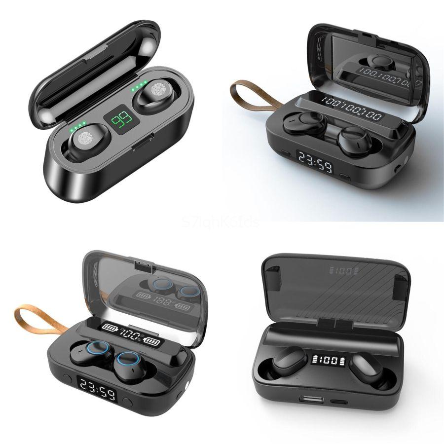 2020 Yeni F9 2'de 1 TWS 5.0 Mini LED Güç Ekran Kablosuz Kulaklık Akıllı Dokunuş Spor Gaming Headset 9D Ses Hoparlör # 642