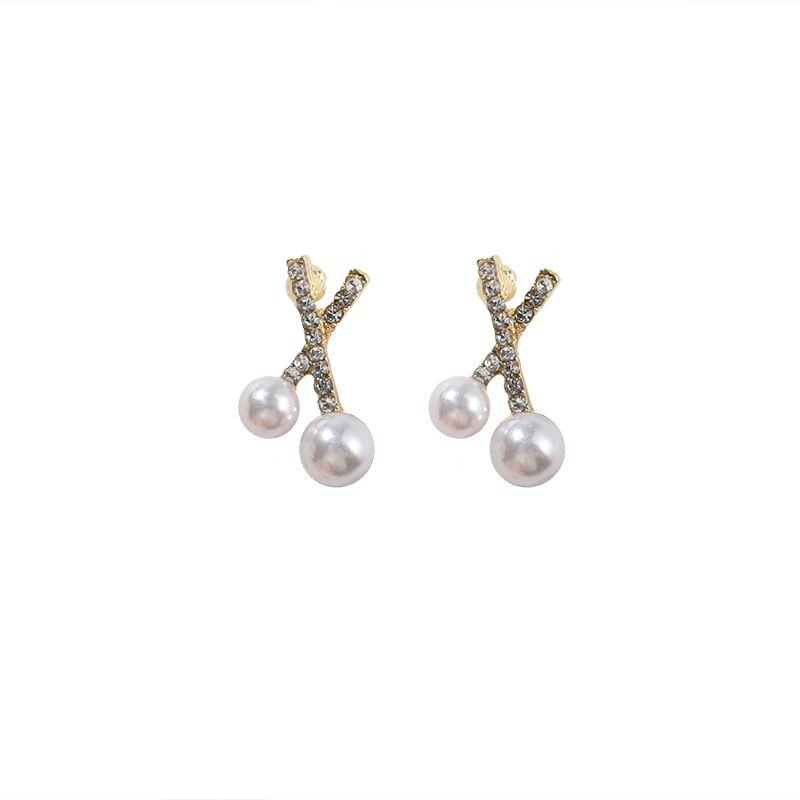 S925 Silber Nadel Ohrstecker, kleines Kreuz, auf hohe Ebene Sinn, einfach und vielseitig Dame Stil Perle Ohrstecker