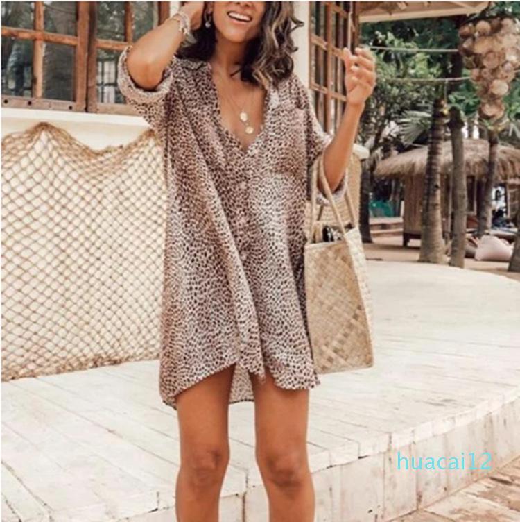 Hot Verkauf Sommer 2020 neue Frauen-Kleid Kleid Leoparddruckhülse lang Minirock Hemd trim sexy