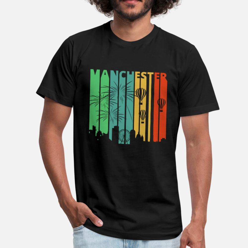 Vintage Retro Manchester Skyline Cityscape Angleterre t hommes shirt imprimé 100% coton S-XXXL naturel Lumière du soleil de base Printemps Nouveauté chemise