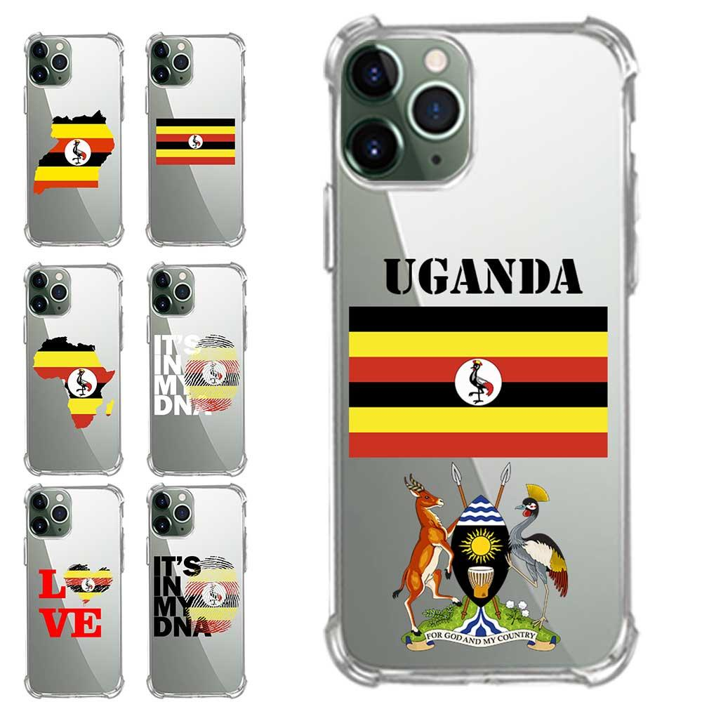 Extra Protection Transparent TPU Phone Cases For iPhone 6 7 8 S XR X Plus 11 SE 2020 Pro XS Max Uganda Flag