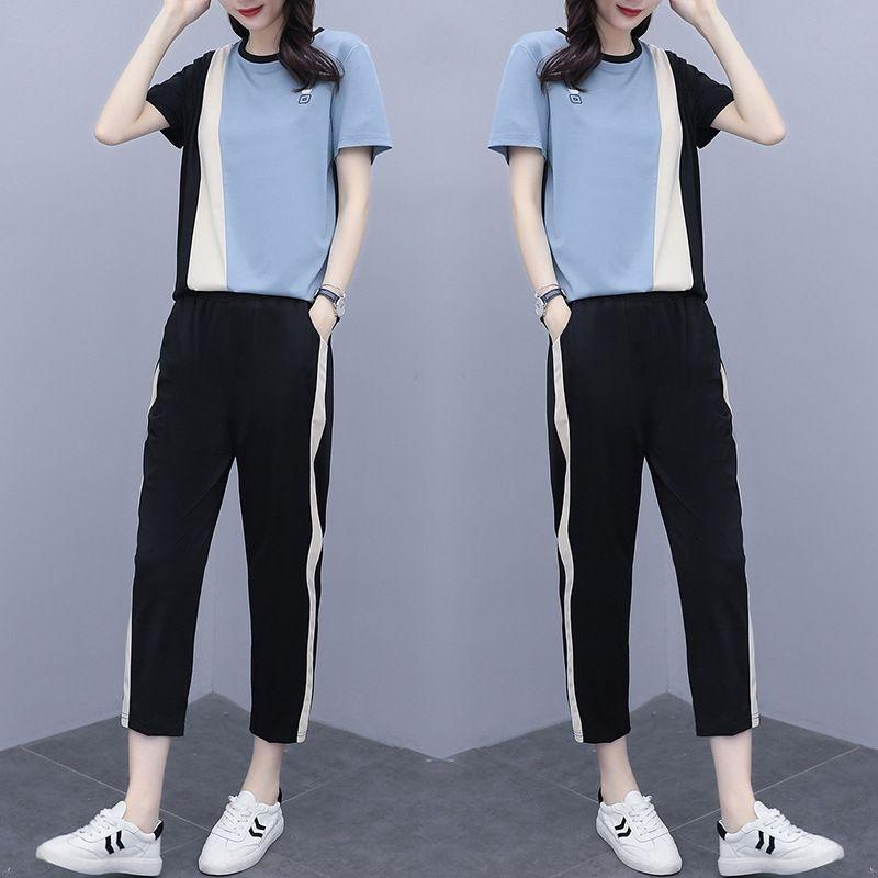nDCsS FKix9 2020 Yaz yeni Kore tarzı büyük boy gizleme mm artı artı renk eşleştirme zayıflama ve et yağ kadı yaz yeni iki parçalı takım elbise c