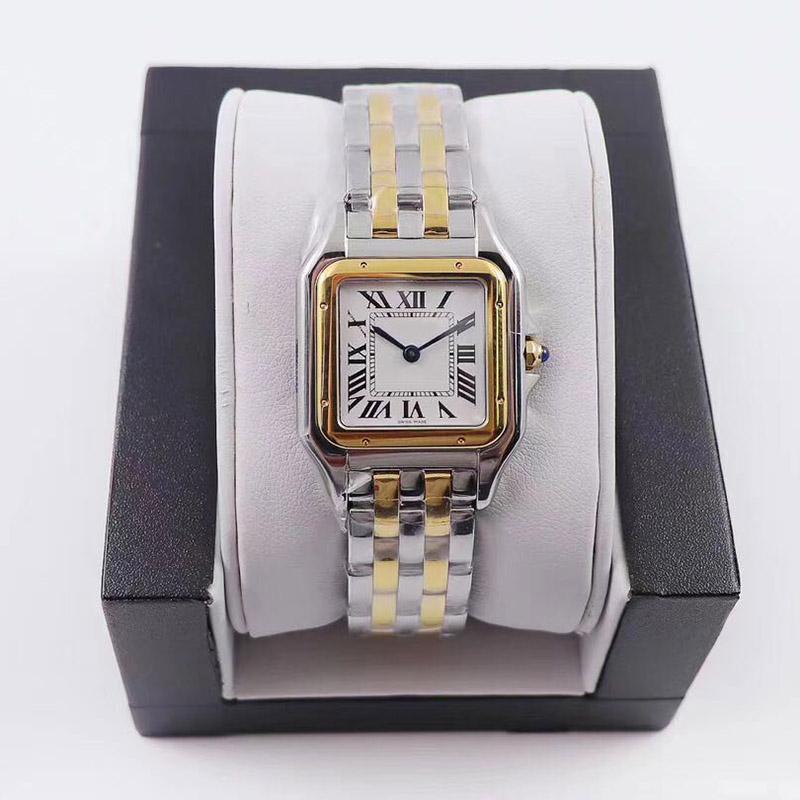 Sıcak Satış Kadınlar Saatler Yeni Moda 22 * 30mm Dial Yüksek Kalite Altın / Gümüş Paslanmaz Çelik Kuvars Lady Saatler Elmas Ücretsiz Kargo Ile