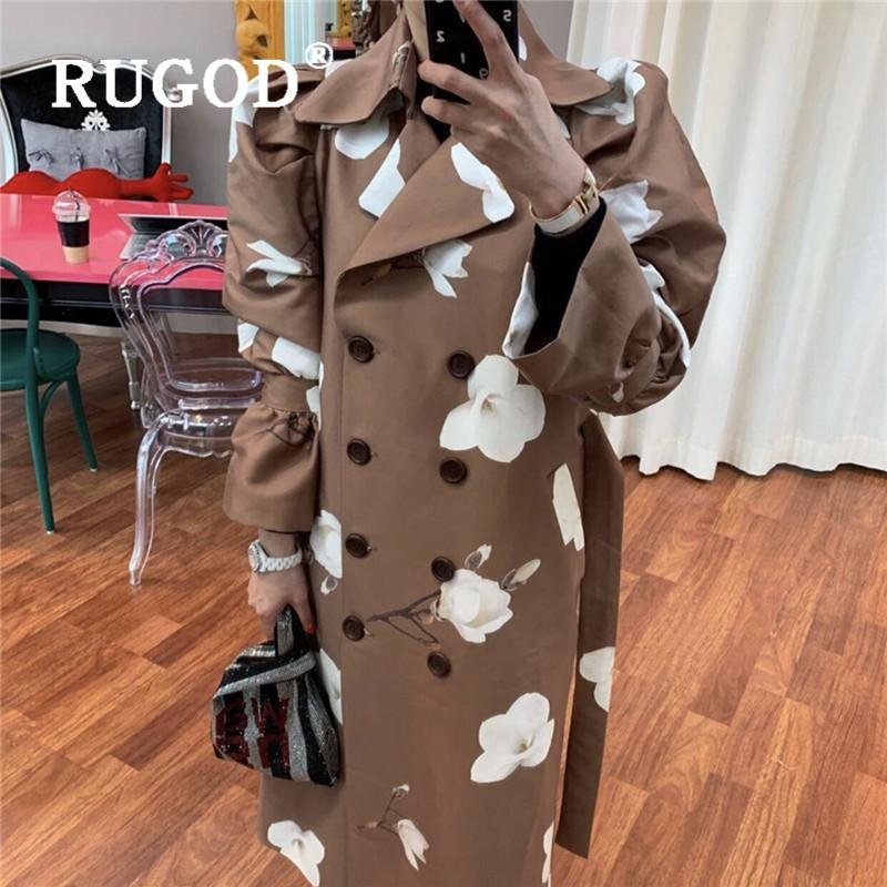 RUGOD 2020 women's raincoat turn down collar double breasted loose long style windbreak with belt fashion female trench coat