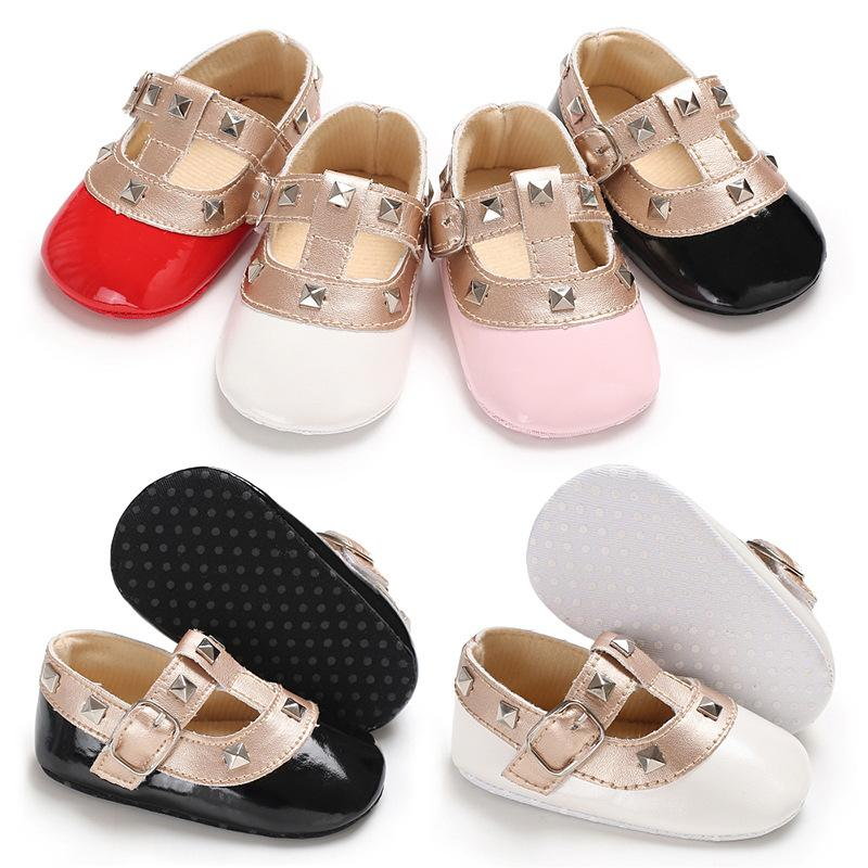 Baby Designer Design Baby Girls Princess Shoes T Strap Square Soft Sole Baby Toddler Shoes Pu Leather Rubber Kids Ballerina Flat Shoes