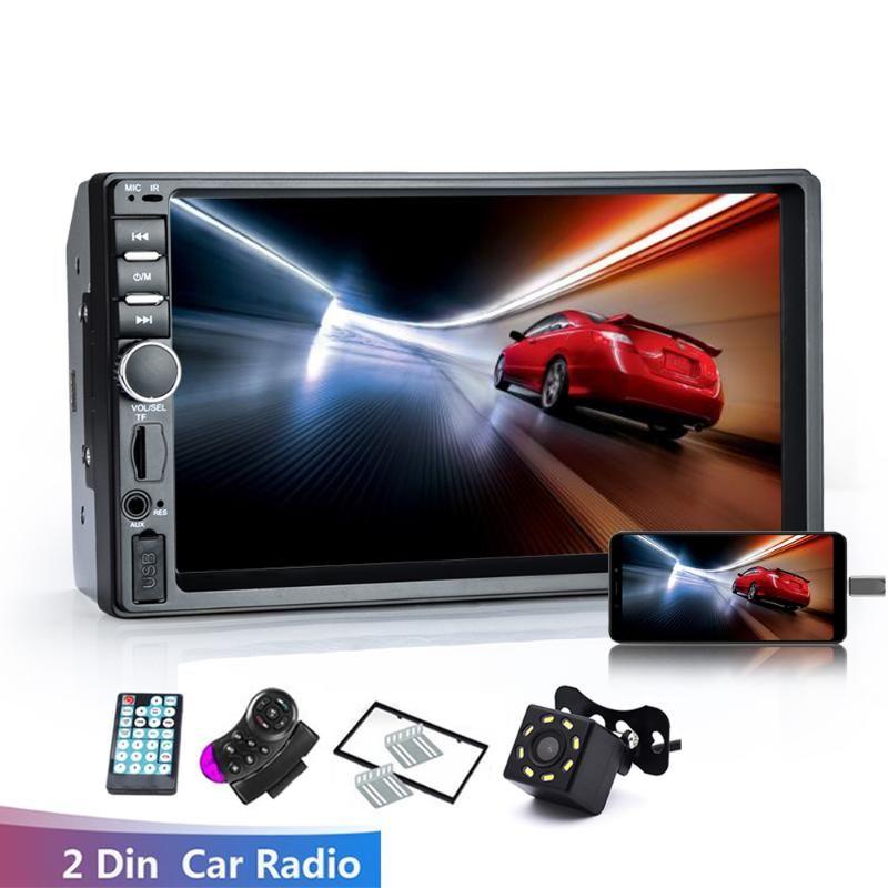 "Araba Ses Radyo 2 Din HD 7 ""Dokunmatik Ekran Stereo Bluetooth Handsfree FM Ters Görüntü Ile / Kamera olmadan 12 V 7018B"