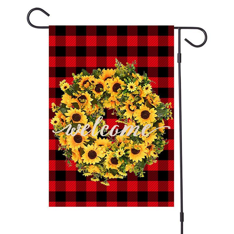 New Merry Christmas Linen Garden Flags Xmas Garland Plaid Designers Banners 47x32cm Hanging Banner Flags Party Outdoor Decoration D92506