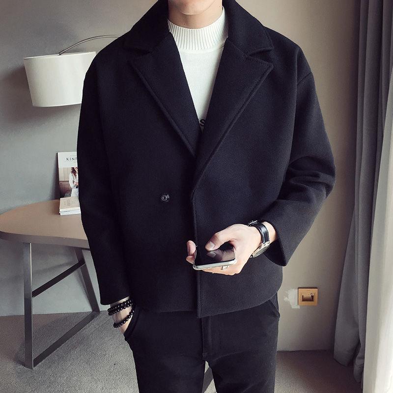 2020 Mode d'hiver d'homme Vestes neige cachemire style court laine Trench laine Manteaux 3 Blends Couleur vêtement M-5XL
