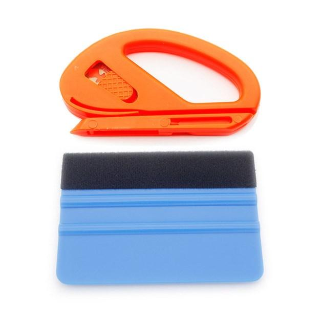 1pc Auto Styling Vinyl Carbon Fiber Window Ice Remover Cleaning Wash Car Scraper With Felt Squeegee Film Wrapping 10x7cm
