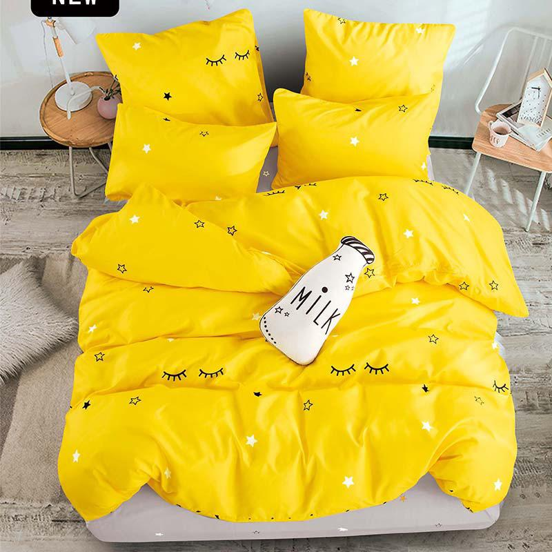 Alanna Printed Solid bedding sets Home Bedding Set 4-7pcs High Quality Lovely Pattern with Star tree flower Y200111
