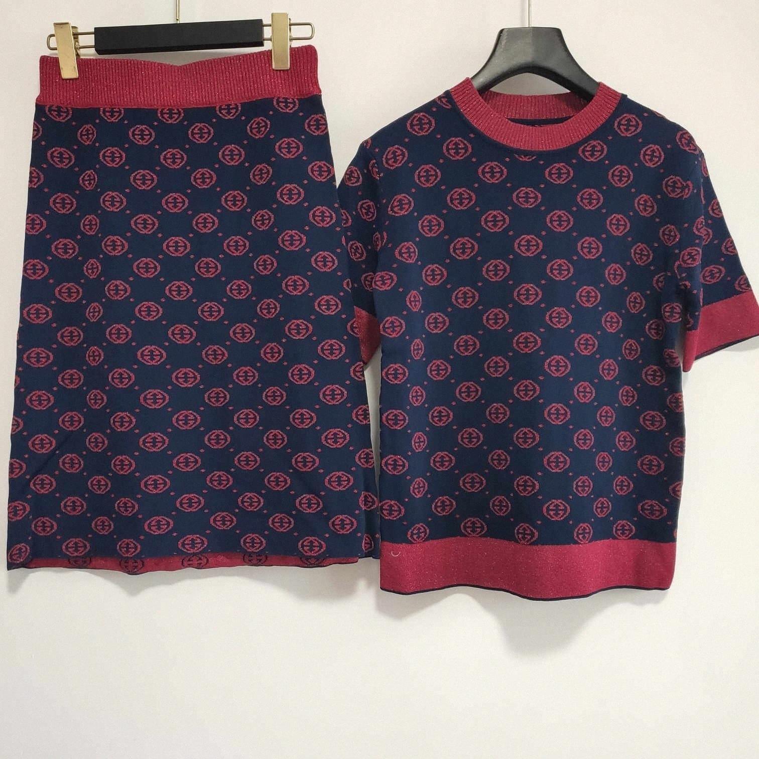 2 PC Designer mulheres vestidos New Arrival Moda Womens Marca T Camisa e vestidos Define Luxo Lady Escritório Formal Vestido WI20 #