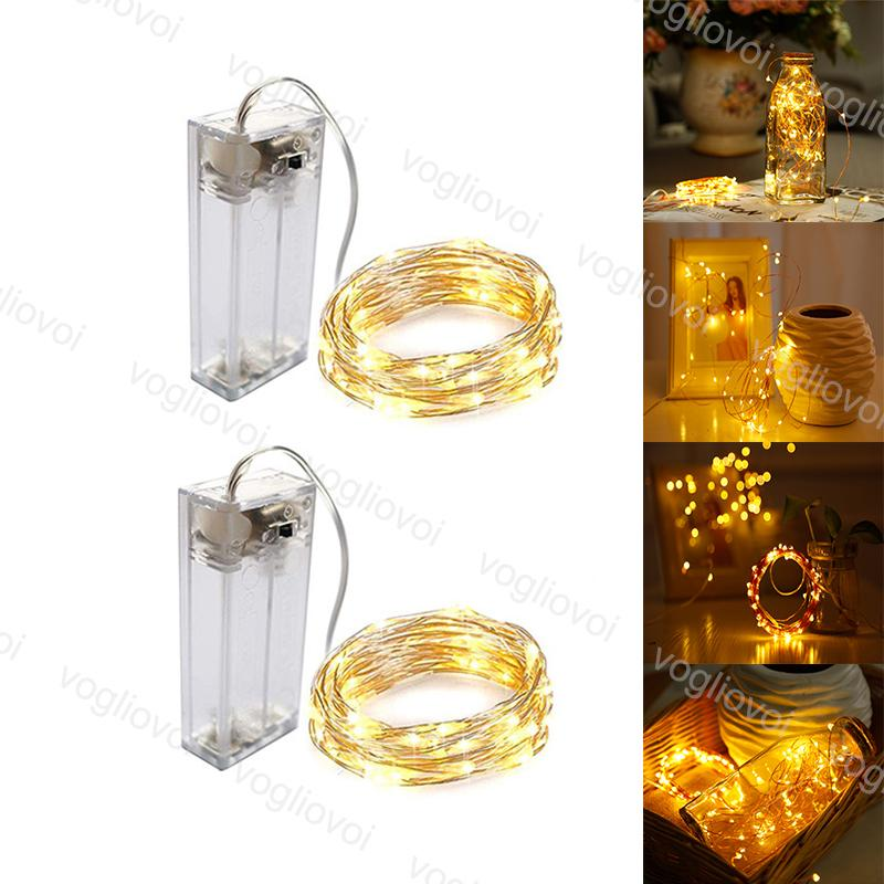 LED Strings Multicolour Copper Silver 1M 2M 3M Battery Box Holiday lighting For Fairy Christmas Tree Garland Wedding Party Decoration EUB