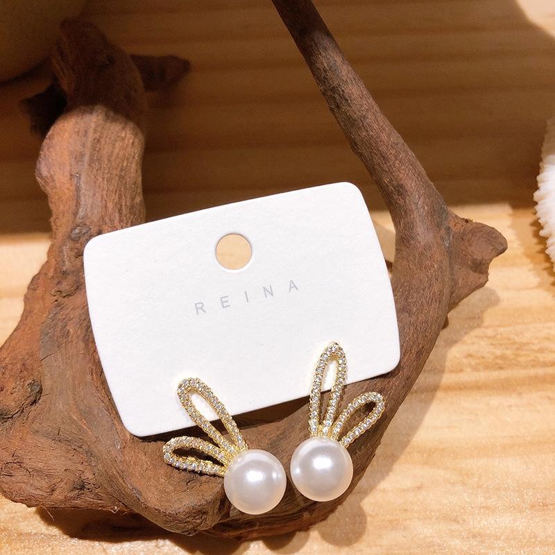 EKKNn style coréen Dongdaemun micro incrusté zircon boucles d'oreilles perle d'oreille lapin mignon S925 tempérament aiguille d'argent Tu earringsPearl earringship