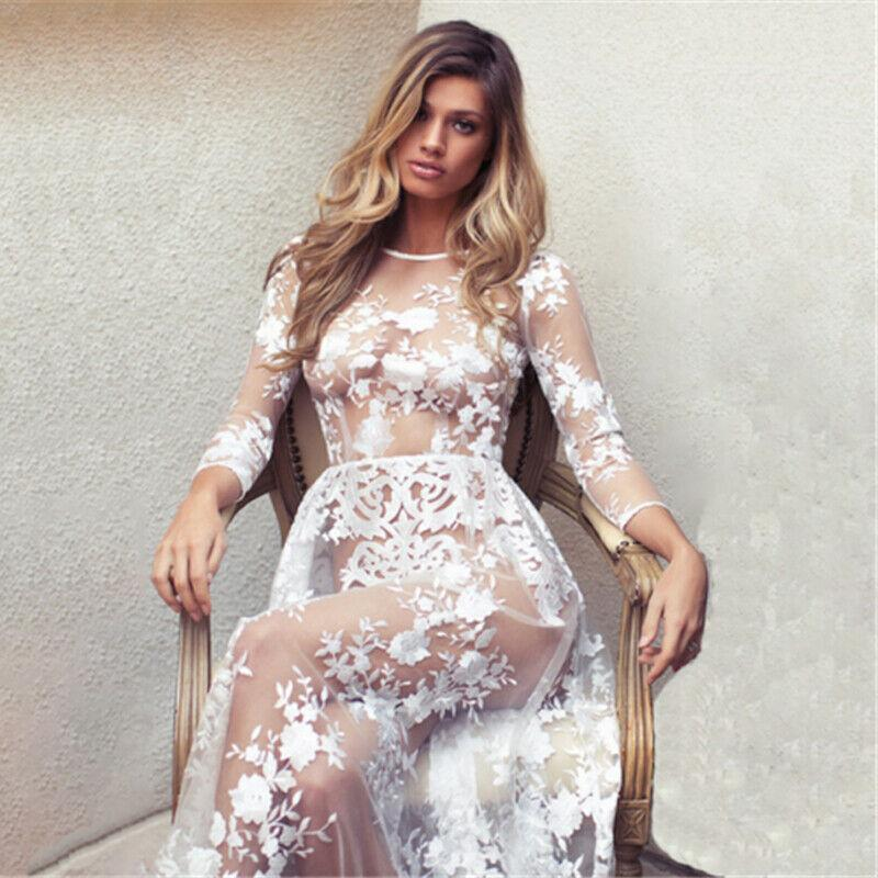 Casual Dresses Women Ladies Sexy Dress Long Sleeve O-neck Solid White Floral See Through Mesh Fabric Party Club Reception