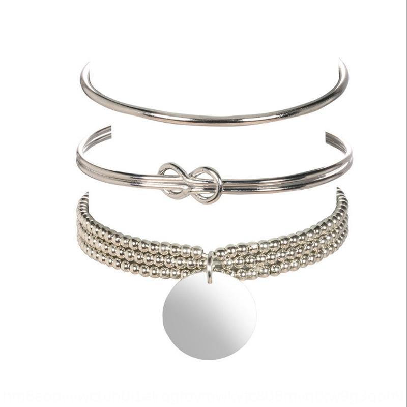Новая мода персонализированного геометрического диск кулон яркий серебряный узел открытого браслет Подвеска 3-х частей набор браслет