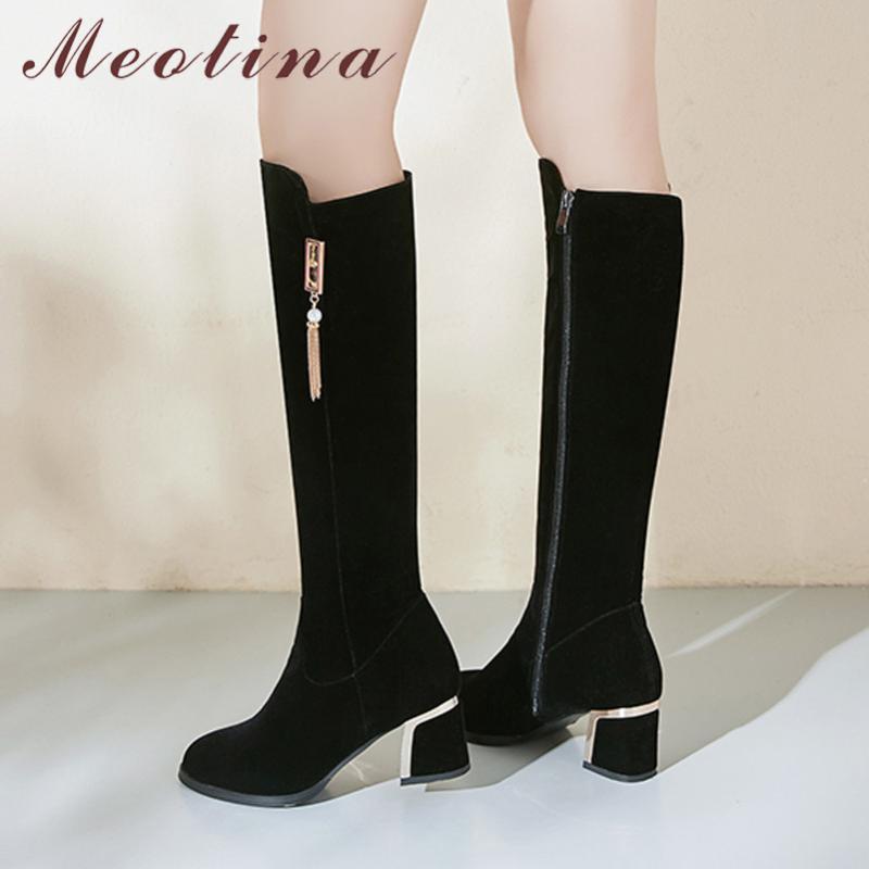 Rodilla Meotina invierno Altas botas de las mujeres de moda Chunky de tacón alto del dedo del pie Botas altas zapatos de la cremallera de la Ronda Tamaño Señora Otoño Negro Grande 33-43