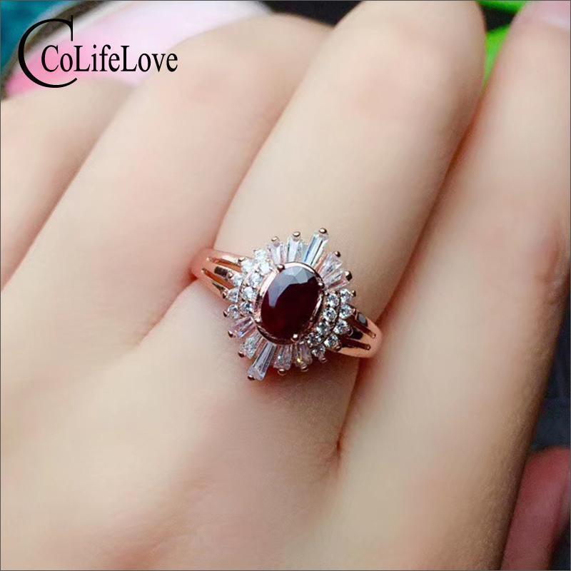 CoLife Schmuck aus 100% natürlichen dunkelroter Rubinring für Partei 4mm * 6mm Afrika Rubin Silber Ring 925 Silber Rubin Schmuck