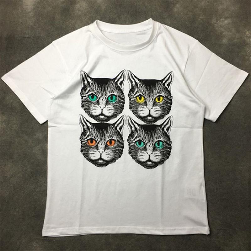 Moda para hombre de la camiseta 20ss Calle famoso Alta calidad Cuatro gatos imprimieron camisetas de manga corta T suéter Polo Hombres Mujeres Parejas estilista Tee
