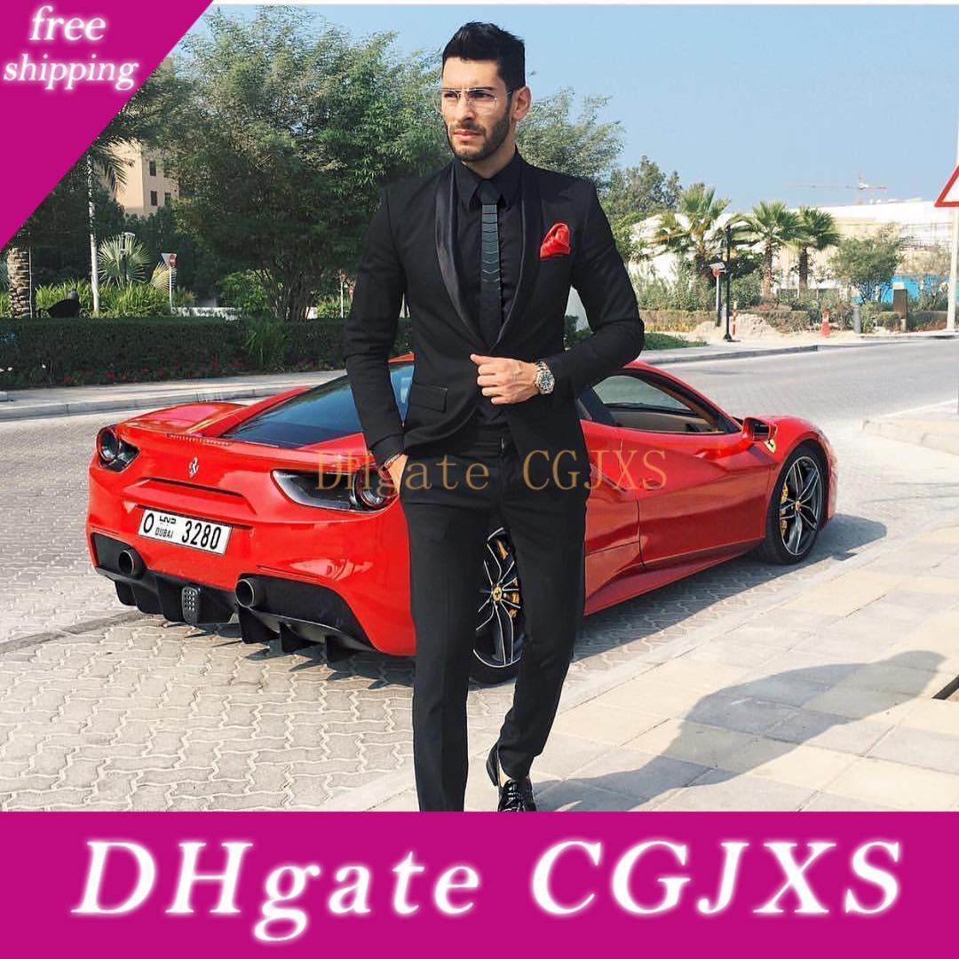 Nueva Negro para hombre de Dos Piezas Trajes Slim Fit boda de los novios trajes de etiqueta barata Un botón de fin de curso formal Traje (pantalones de la chaqueta)