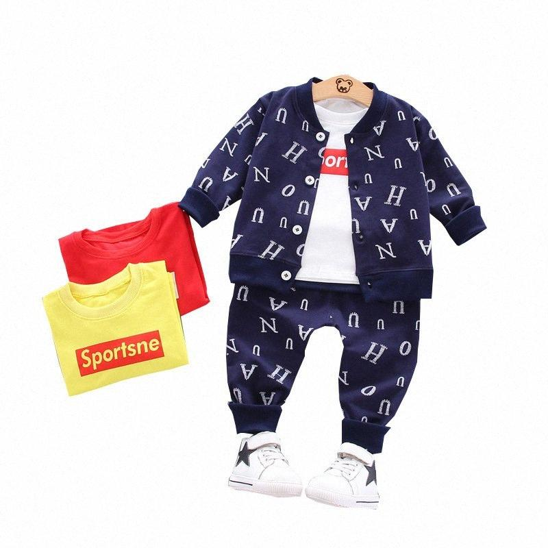 Весна Осень Детская одежда Костюм Детский мальчик девочки письмо куртка T рубашка брюки 3шт / комплекты малышей Активный Одежда Детские костюмы aYw0 #