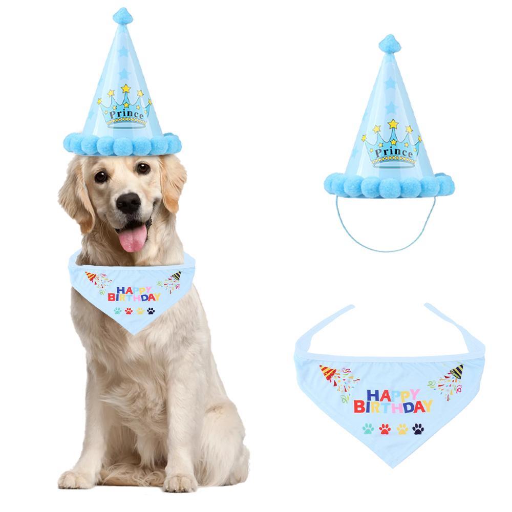 Dog Cachecóis Bandana aniversário com aniversário bonito do cachorrinho chapéu de festa bonito Outfits aniversário