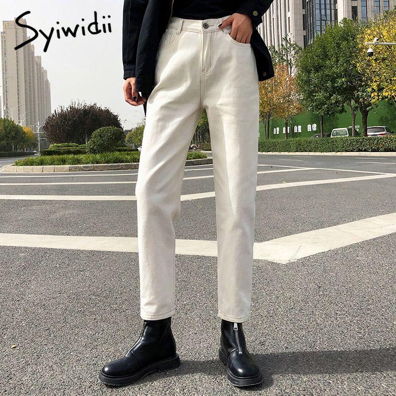 pantalones vaqueros elásticos de la cintura mujeres de alto WAIS más de mezclilla tamaño Harem pantalones ocasionales de los pantalones vaqueros mamá de la moda femenina de Corea 2020 de color beige negro azul CX200821