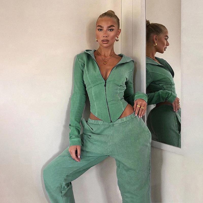 Designer Streetwear Outono Mulheres da Moda de Nova Irregular Cardigan com capuz Jacket Cintura alta Sweatpants Casual Fato cinzento verde azul