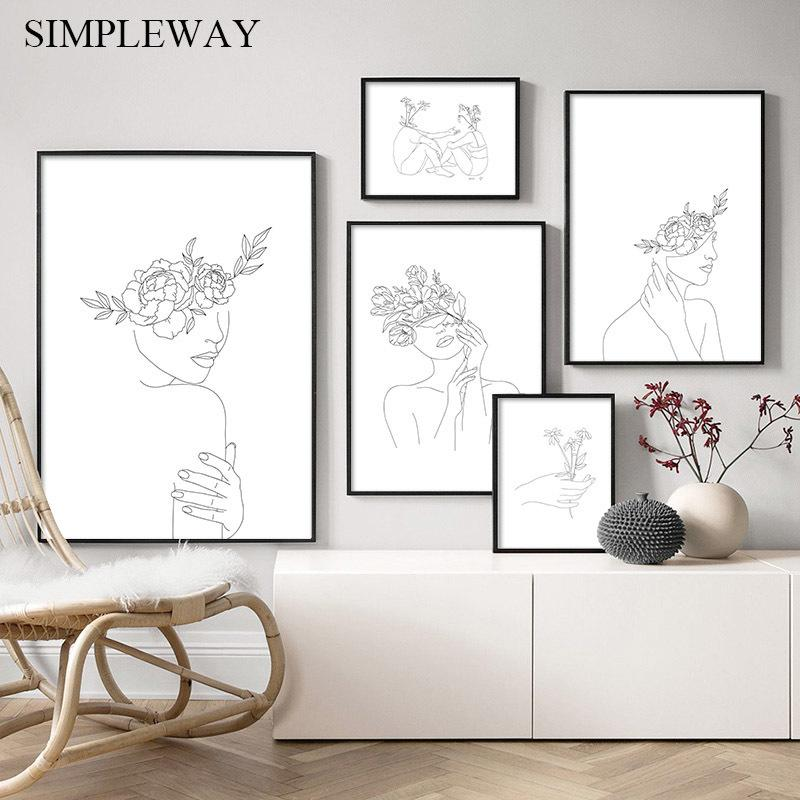 Simplicity Line Drawing Poster and Print Black White Abstract Flower Woman Artwork Canvas Painting Wall Art Picture Home Decor