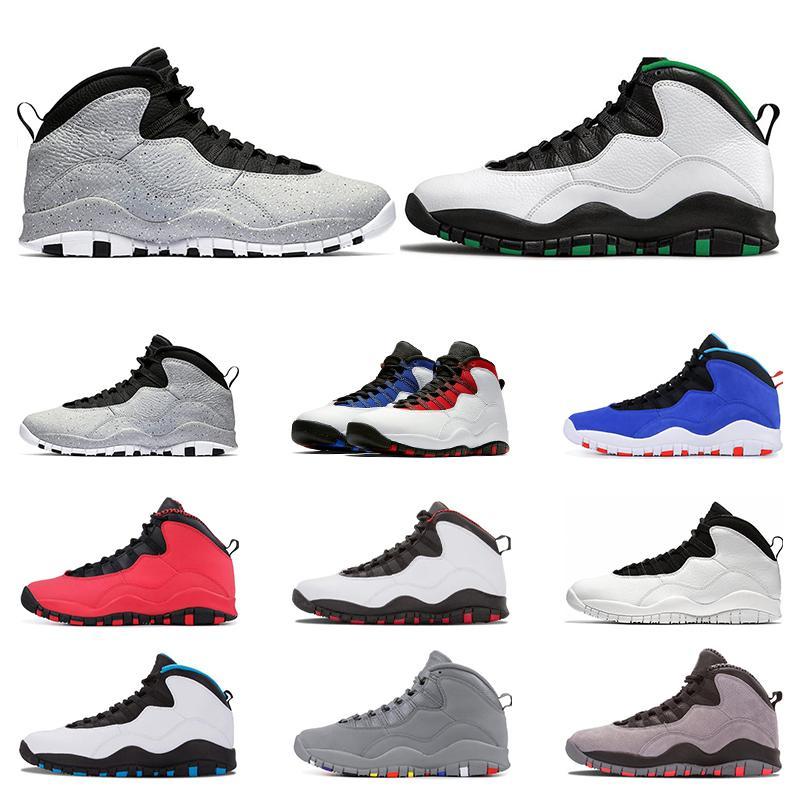 2020 calçados esportivos 10 basquetebol dos homens sapatos 10s Seattle aço Cimento TINKER cinza pó azul eu sou ba NakeskinJordâniaRetros Tamanho