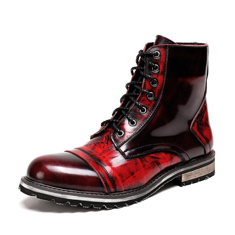 Men Patent Leather Boots Big Size Red