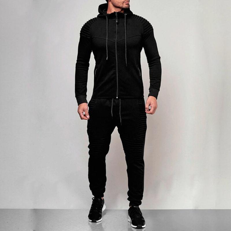 Atletik Düz Ceket + Pantolon Koşu Cepler Erkekler Sonbahar Eşofman Eşofman Sıcak Satış ile 2 PC Fermuar Erkekler Eşofman Spor Seti