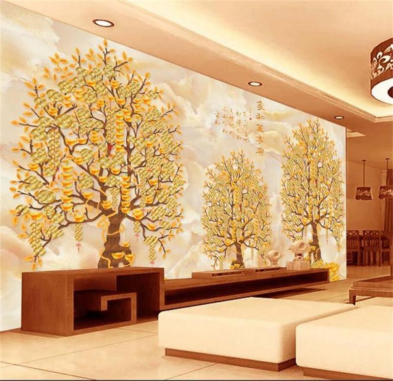 Los caracteres chinos tamaño personalizado 3d fondos de escritorios papel tapiz salón sitio de la cama del árbol de dinero mural de la imagen 3D del contexto del sofá del papel pintado etiqueta