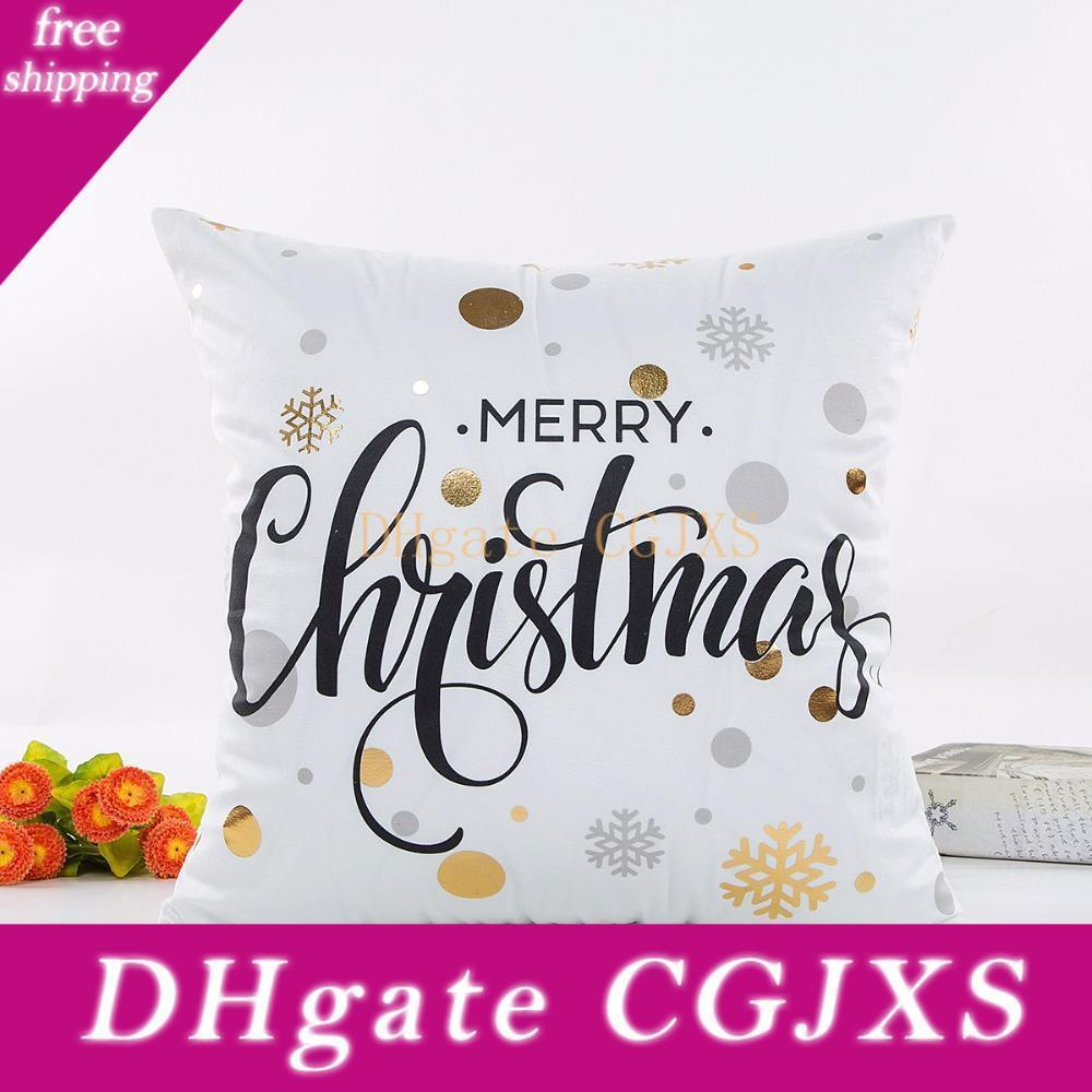Yeni Tasarım Özet Boyama Noeller Yeni Yılınız Kutlu Olsun Yastık Kapak Ev Yastık Kılıfı Sandalye Koltuk Örtüleri atın