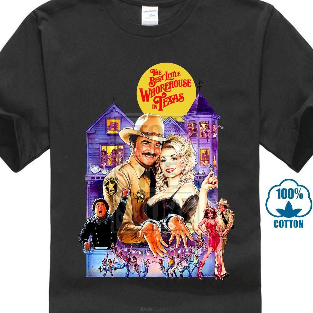 Colore Nero Media Tees più bel casino del Texas Burt Reynolds Dolly Parton T Shirt Stampa cotone di alta qualità