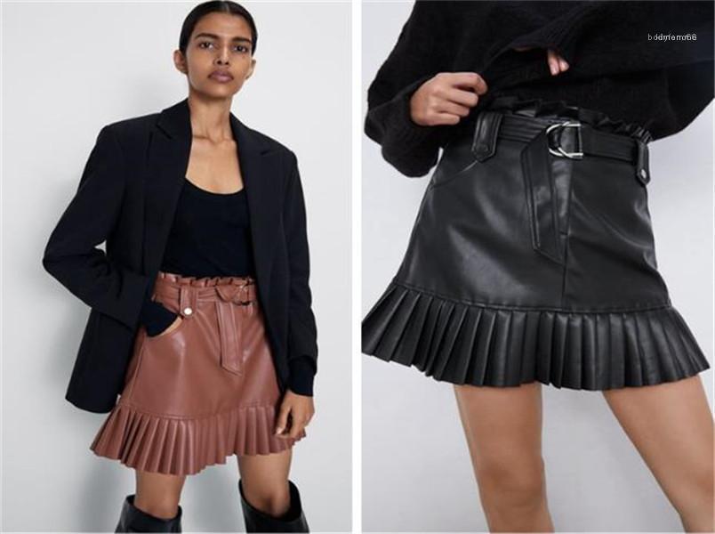 Kravat Kemer Bel Pileli A Hattı Mini Etekler Kadın Siyah PU Etekler Moda Sahte Deri Etek Şık