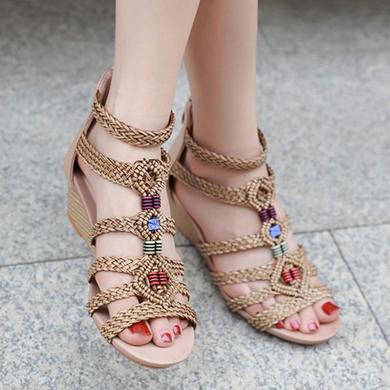2020-Sommer-Schuhe Frauen Roma Sandalen Elegante Dame-Partei-Schuh-Frauen-Keil-Sandalen Elegante Frau Keilabsatz 5 cm A2279