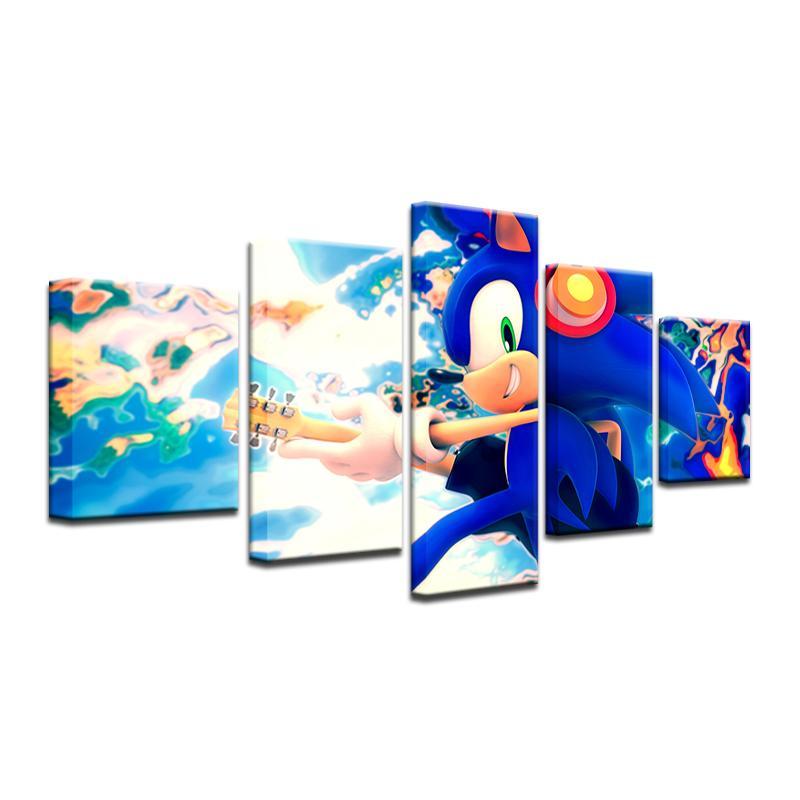 Tecido Canvas Wall Art Poster Print Quadro jogo Sonic The Hedgehog Music Room guitarra Decor Decoração