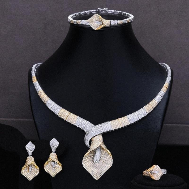 GODKI 4PCS monili di lusso africano Set per le donne dalla damigella d'onore insiemi dei monili 2020 della collana dell'orecchino del braccialetto del partito dell'anello del set lf9S #
