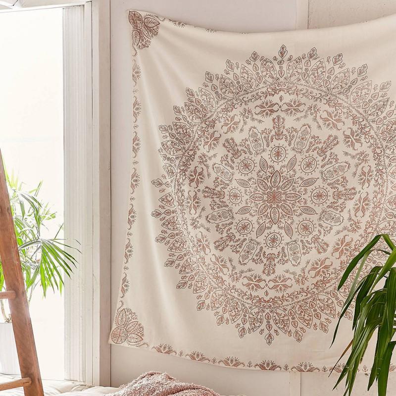 Tapiz Mandala Hippie de Bohemia colgante de pared de la flor de tapices colgados de la pared de la decoración de la sala de estar dormitorio 145x145cm